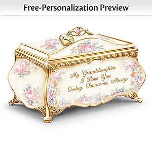 Granddaughter Porcelain Music Box With Name-Engraved Charm
