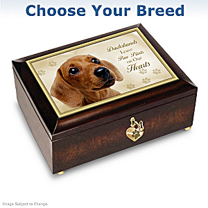 "Dog Art ""Paw Prints On Our Hearts"" Music Box: Choose A Breed"