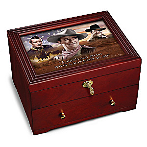 """John Wayne: Legend"" Wooden Keepsake Box With Movie Art"