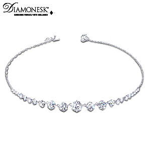 """Royal Cascade"" Sterling Silver Diamonesk Necklace"