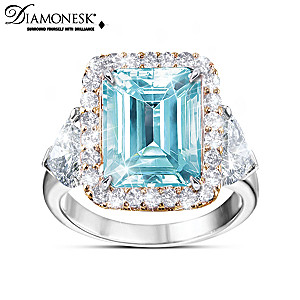 """Runway Inspiration"" Diamonesk Simulated Aquamarine Ring"