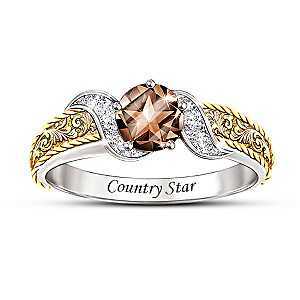 """Country Star"" Smoky Quartz And Diamond Ring"