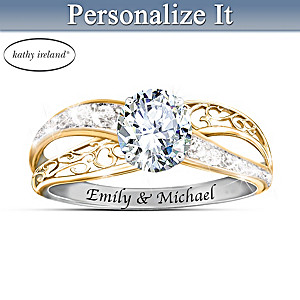 kathy ireland Forever Our Love Personalized White Topaz Ring