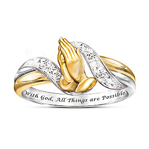 """Faith's Embrace"" Praying Hands Ring With 6 Genuine Diamonds"