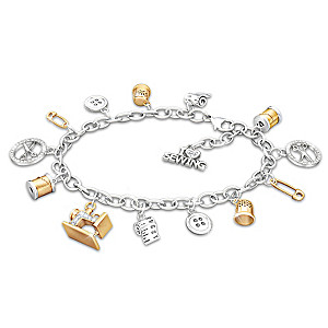 """Sew Happy"" Sterling Silver Crystal Charm Bracelet"