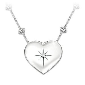 """Mom's Message Of Faith"" Diamond Pendant With Poem Mirror"