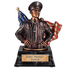 """Heart Of Honor"" Cold-Cast Bronze Sculptural Policeman Bank"