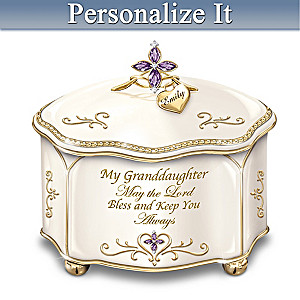 """Granddaughter, May The Lord Bless You"" Personalized Music Box"