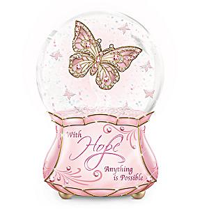 Breast Cancer Awareness Musical Butterfly Glitter Globe