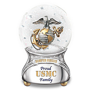 Proud Family Of USMC Musical Glitter Globe With Poem Card
