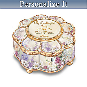 """""""My Granddaughter, I Love You"""" Personalized Music Box"""