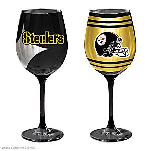 "Pittsburgh Steelers ""Gridiron Stars"" Wine Glasses: Set Of 2"