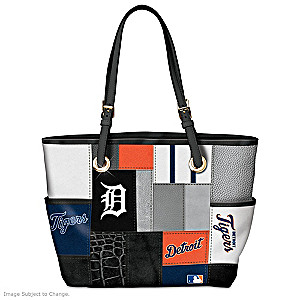 Detroit Tigers Patchwork Tote Bag With Team Logos