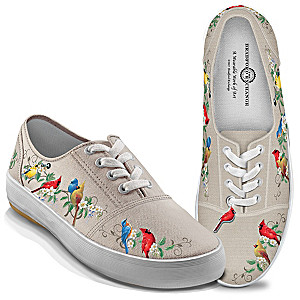 """Nature's Symphony"" Canvas Sneakers With Songbird Art"