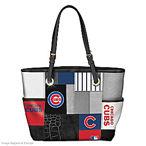 Chicago Cubs Patchwork Tote Bag With Team Logos
