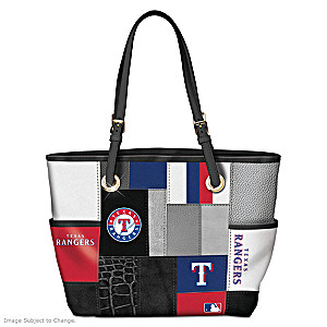 Texas Rangers Patchwork Tote Bag With Team Logos