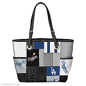 Los Angeles Dodgers Patchwork Tote Bag With Team Logos