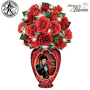 "Elvis ""Love Me Tender"" Bouquet With Illuminated Crystal Vase"