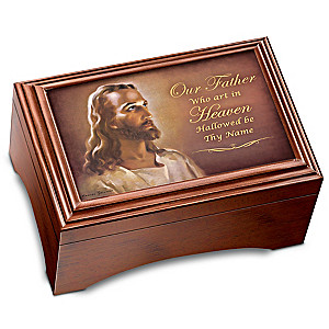 The Lord's Prayer Holy Land Olive Wood Cross And Music Box