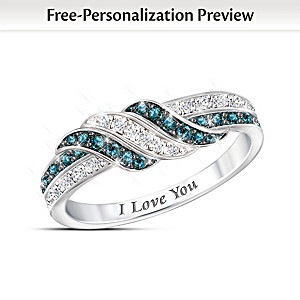 """Embrace The Love"" Personalized Blue And White Diamond Ring"