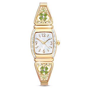 """Luck Of The Irish"" Engraved Four-Leaf Clover Stretch Watch"
