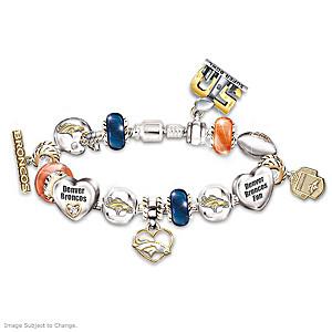 Broncos Super Bowl 50 Swarovski Crystal Charm Bracelet