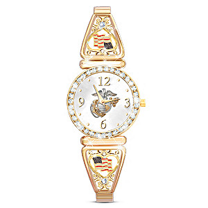 Engraved Marine Corps Pride Women's Stretch Band Watch