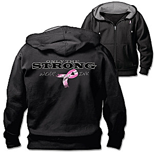 Only The Strong Wear Pink Breast Cancer Support Men's Hoodie