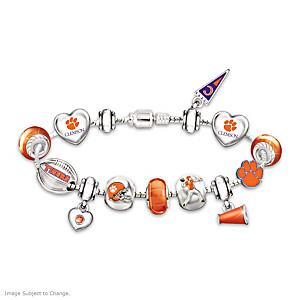 Clemson Tigers Charm Bracelet With Swarovski Crystals