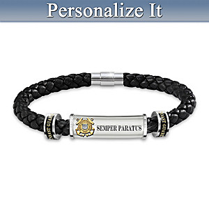U.S. Coast Guard Customized Leather and Steel Men's Bracelet