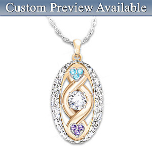 """Love Is Forever"" Personalized Birthstone Pendant With Names"