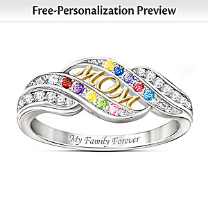 """Mom's Blessings"" Personalized Crystal Birthstone Ring"