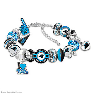 """Fashionable Fan"" Panthers Beaded Charm Bracelet"
