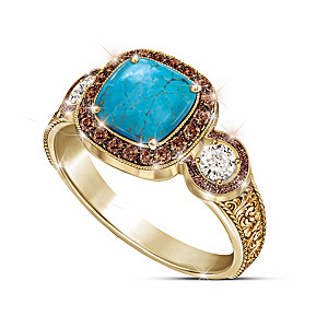 """Country Beauty"" Women's Mocha Diamond And Turquoise Ring"