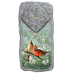 """James Hautman """"Springtime Song"""" Cardinal Art Wall Clock"""