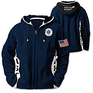 """Coast Guard Pride"" Men's Hooded Fleece Jacket"