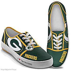 NFL-Licensed Green Bay Packers Women's Canvas Sneakers