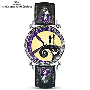 """Midnight Magic"" Jack And Sally Glow-In-The-Dark Watch"
