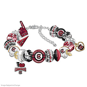 """""""Fashionable Fan"""" Gamecocks Charm Bracelet With 16 Charms"""