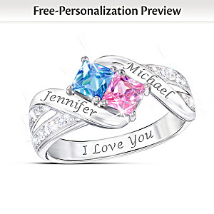 Together Cheek To Cheek Birthstone Ring With Engraved Names