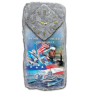 """Honor, Courage and Commitment"" U.S. Navy Tribute Wall Clock"