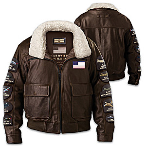 Americas WWII Heroes In Flight Mens Distressed Leather Bomber Jacket