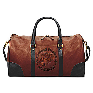 USMC Embossed Leather Duffel Tote Bag