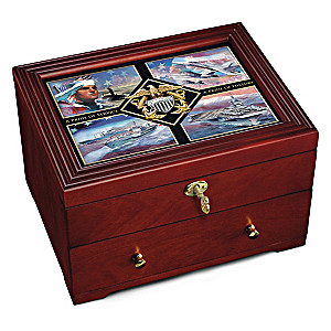 "The ""Navy Pride"" Custom-Crafted Lockable Wooden Keepsake Box"