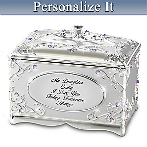 """""""My Daughter, I Love You"""" Personalized Heirloom Music Box"""