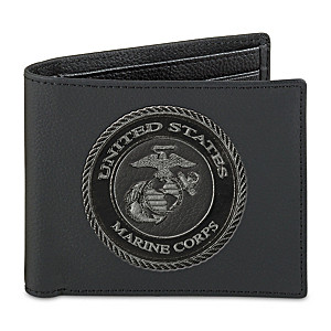 USMC Men's Leather Wallet With RFID Blocking Technology