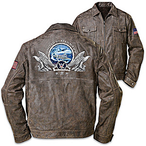 """U.S. Navy Pride"" Men's Distressed Leather Jacket"