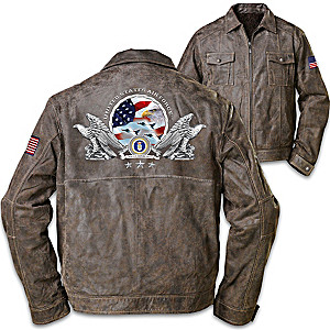 """U.S. Air Force"" Men's Distressed Brown Leather Jacket"