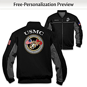 """USMC Salute"" Bomber-Style Jacket With Embroidered Name"