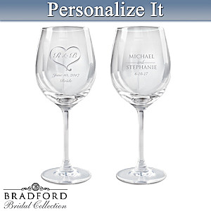 Romantic Personalized Wine Glass Set: Choose Your Design